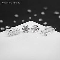 """Пусеты новогодние 3 пары """"Снежинки"""", вьюга, цвет белый в серебре"""