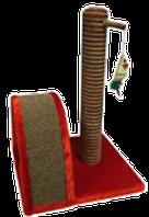 Когтеточка столбик + дуга. Джут/ковролин/игрушка PerseiLine 35х30х54см КД-12