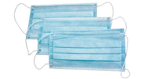 Маска медицинская  3-слойная голубая, на резинках,50шт.