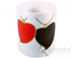 Кружка керамическая для сублимации (с двумя сердцами хамелеон на цепочке)