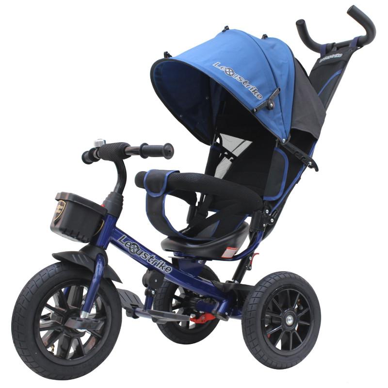 """Трехколесный велосипед Lexus trike, 12"""" и 10"""" тёмно-синий"""