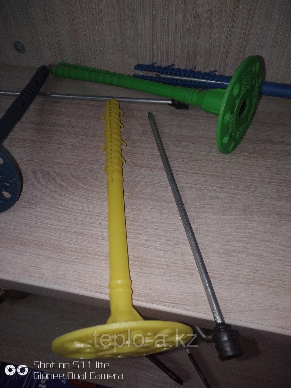 Дюбель зонтик пластиковый с Металлическим гвоздь.  с Термоголовой. 10-160  mm Желтые