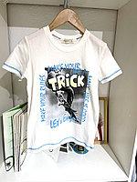 Футболка для мальчика BREEZE со скейтером TRICK 15692. Белая. Трикотаж