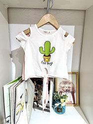 Топ (футболка) для девочки с блестками КАКТУС 15386