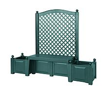 "Садовая скамейка KHW 43503 ""Копенгаген"", с двумя клумбами и шпалерами, зеленая (2кор)"
