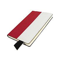 Бизнес-блокнот UNI, A5, бело-красный, мягкая обложка, в линейку, черное ляссе