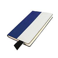 Бизнес-блокнот UNI, A5, бело-синий, мягкая обложка, в линейку, черное ляссе
