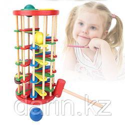 Игра развивающая детская Башня-стучалка деревянная