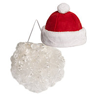"""Костюм карнавальный """"Дед Мороз""""для корпоративных мероприятий, в мешке, флис, мешок 25*30 см,"""