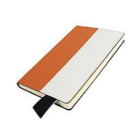 Бизнес-блокнот UNI, A5, бело-оранжевый, мягкая обложка, в линейку, черное ляссе