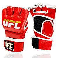 Перчатки MMA UFC (шингарты) для единоборств кожаные на липучке красные