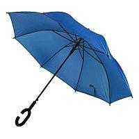 Зонт-трость HALRUM,  полуавтомат, синий, D=105 см, нейлон, пластик