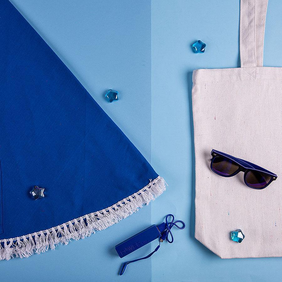 Набор подарочный OCEAN MEMORY: плед пляжный, очки, зарядное устройство, сумка, темно-синий