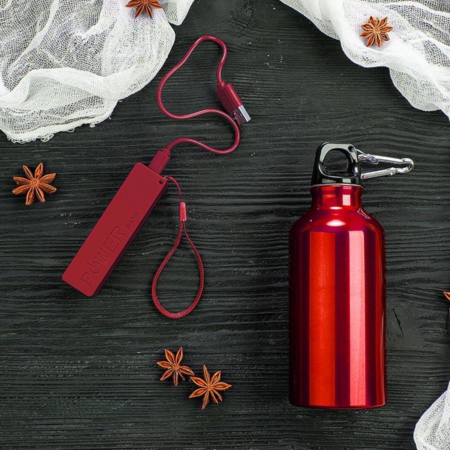 Набор подарочный ENERGYHINT: зарядное устройство, бутылка, цвет красный