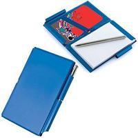 Мемо-кейс: записная книжка, визитница и авторучка; бирюзовый; 10,3х7,1х0,7 см; металл