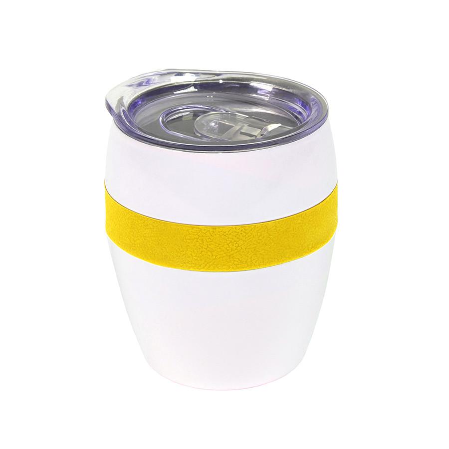 Термокружка LINE, белый/желтый, сталь, 300 мл