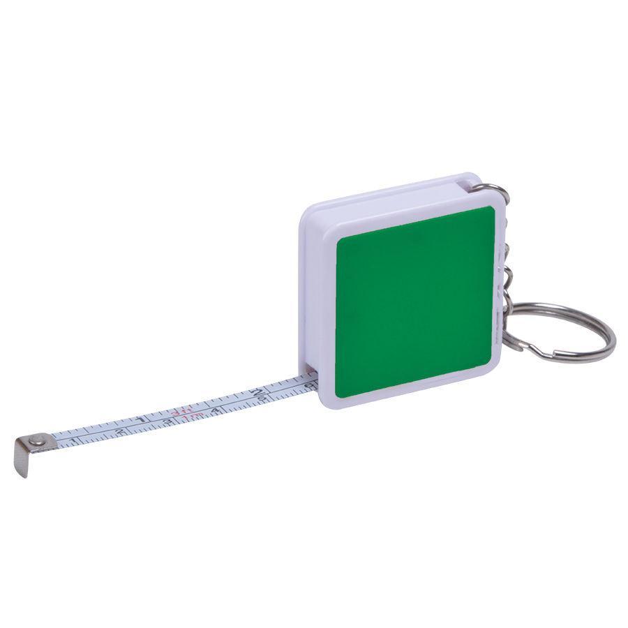 "Брелок ""Hit"" с рулеткой (1м), зеленый с белым, 4х4х1см, пластик"