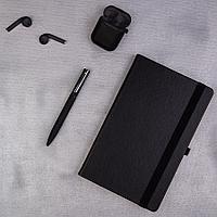 Набор подарочный SOFTMELODY: беспроводные наушники, бизнес-блокнот, ручка, коробка с наполнителем