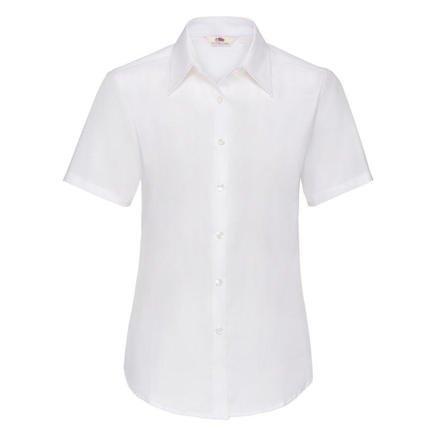 "Рубашка ""Lady-Fit Short Sleeve Oxford Shirt"", белый_XS, 70% х/б, 30% п/э, 130 г/м2"
