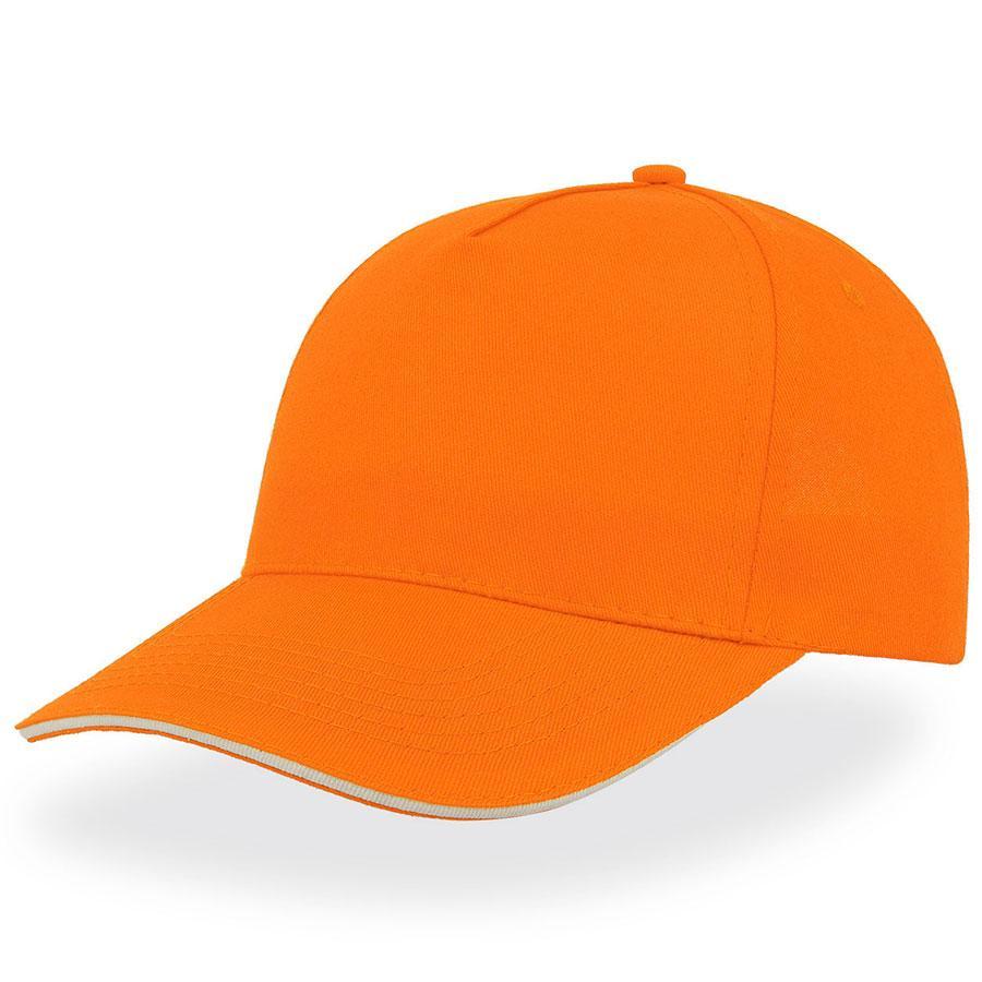 """Бейсболка """"START FIVE SANDWICH """", 5 клиньев, застежка на липучке, оранжевый, 100% хлопок, 160 г/м2"""