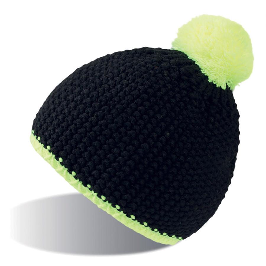 """Шапка """"PEAK"""",  черный/желтый неон, верх: 100% акрил, подкладка: 100% полиэстер"""