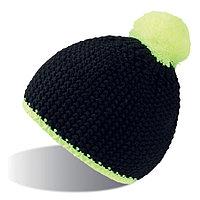 """Шапка """"PEAK"""",  черный/желтый неон, верх: 100% акрил, подкладка: 100% полиэстер, фото 1"""