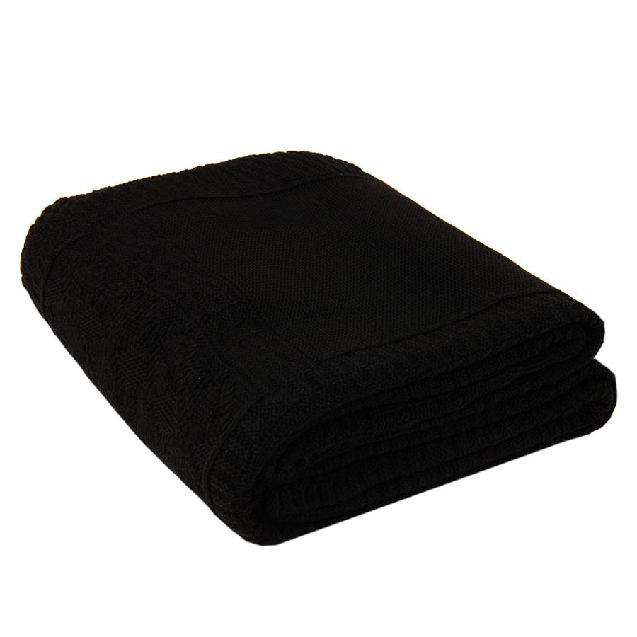 Плед LYKKE MIDI, черный, шерсть 30%, акрил 70%, 150*200 см