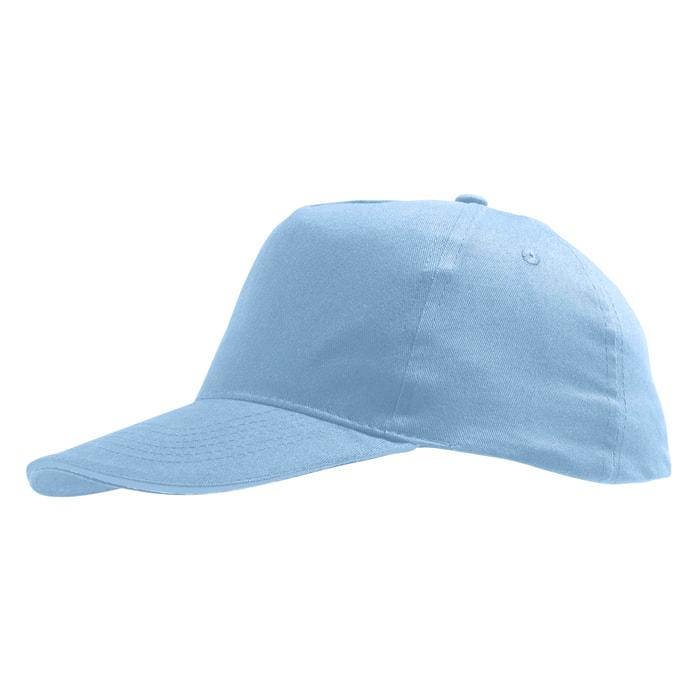 """Бейсболка """"SUNNY"""", 5 клиньев, застежка на липучке, голубой, 100% хлопок, плотность 180 г/м2"""