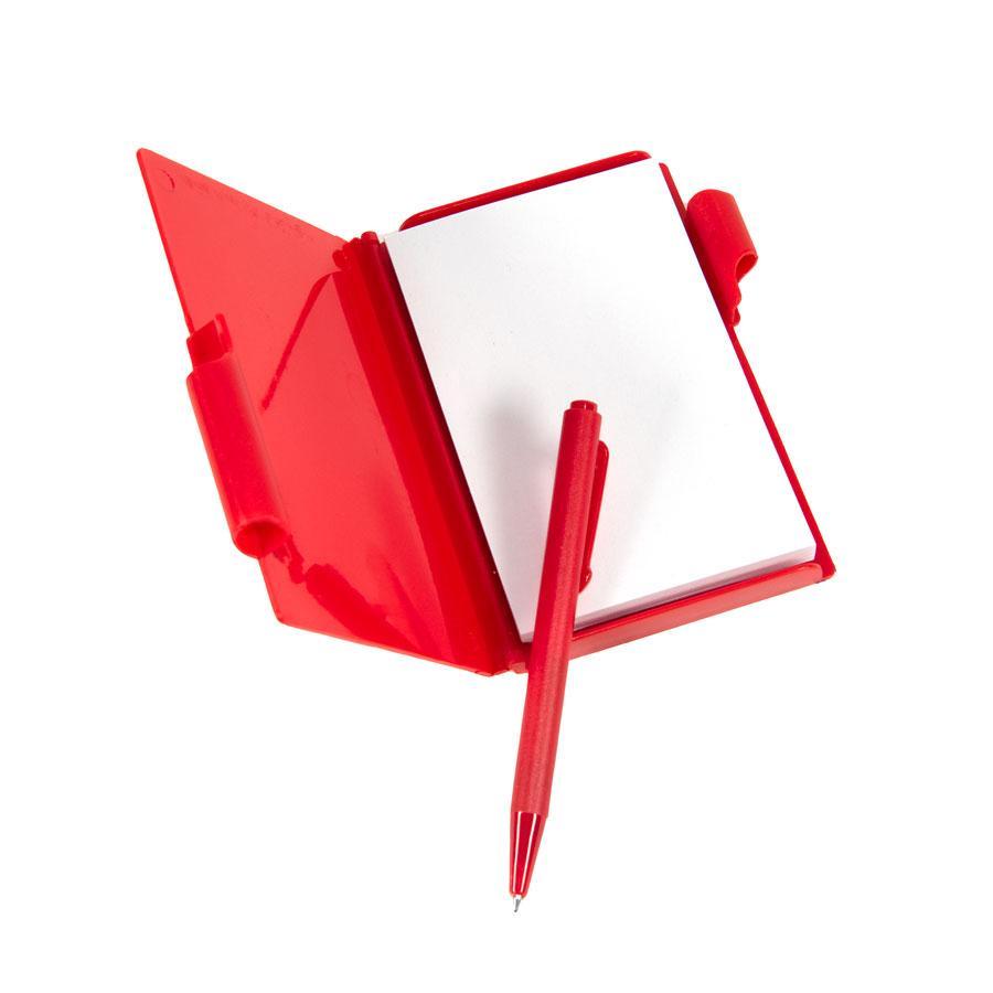 Блокнот для записей с авторучкой; красный; 10,5х7,9х1,1 см; пластик
