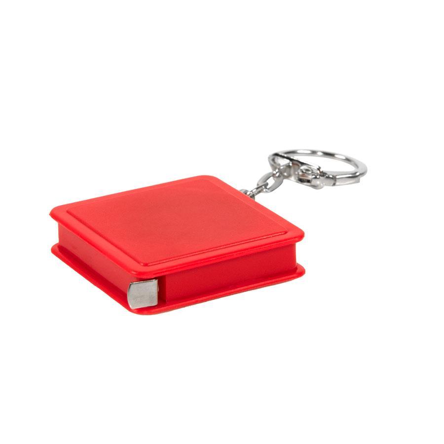 Брелок-рулетка (1 м); красный; 4х4х1 см; пластик