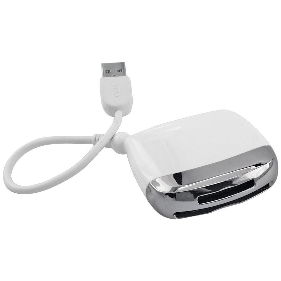 Картридер (для карт памяти SD/MMC/CF/MS); белый; 6х6х1,5см; пластик
