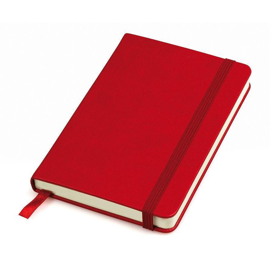 """Бизнес-блокнот """"Casual"""", 130*210 мм, красный, твердая обложка,  резинка 7 мм, блок-линейка, тиснение"""