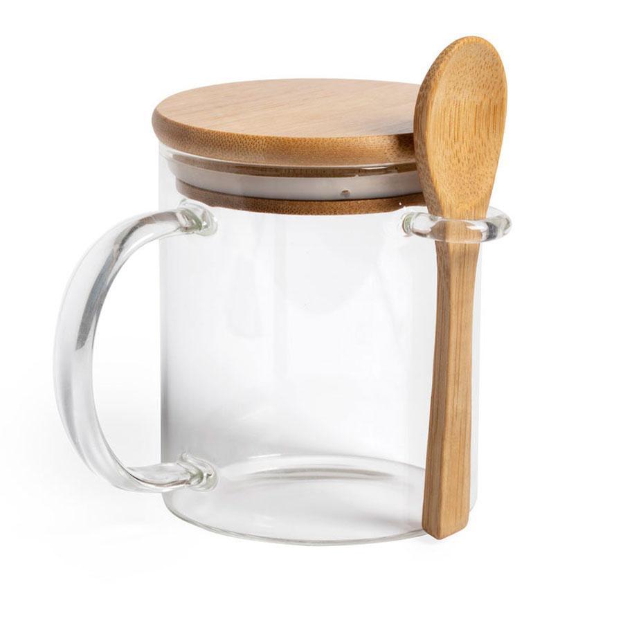Кружка KIPAL, 420мл, 10,6х8,7см, боросиликатное стекло, бамбук