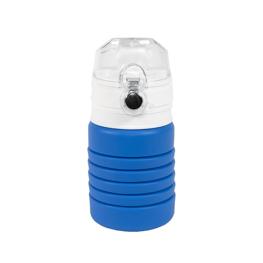 Бутылка для воды складная с карабином SPRING; синяя, 550/250 мл, силикон