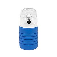 Бутылка для воды складная с карабином SPRING; синяя, 550/250 мл, силикон, фото 1