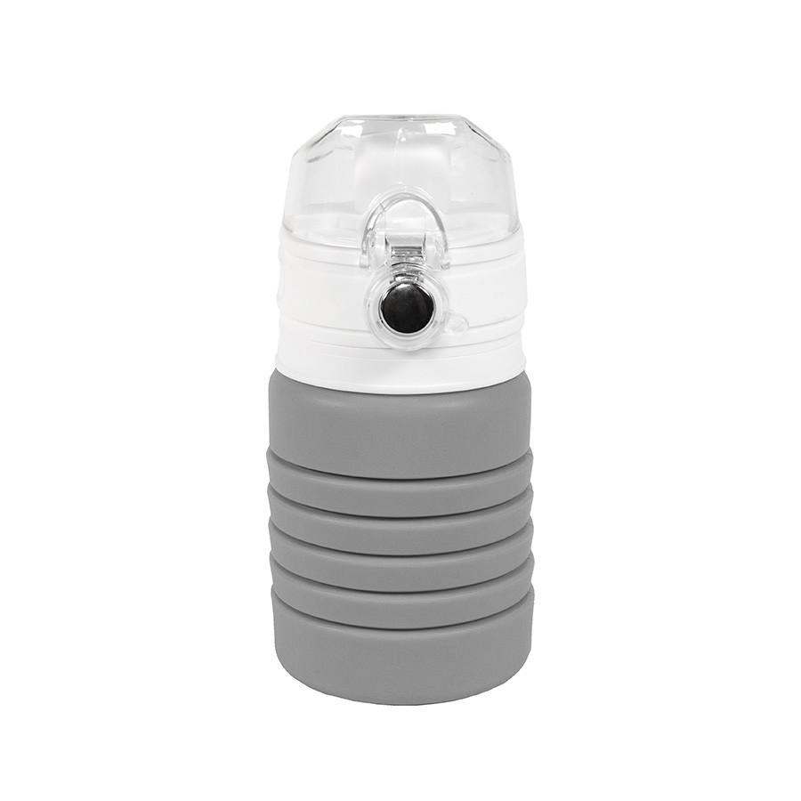 Бутылка для воды складная с карабином SPRING; серая, 550/250 мл, силикон
