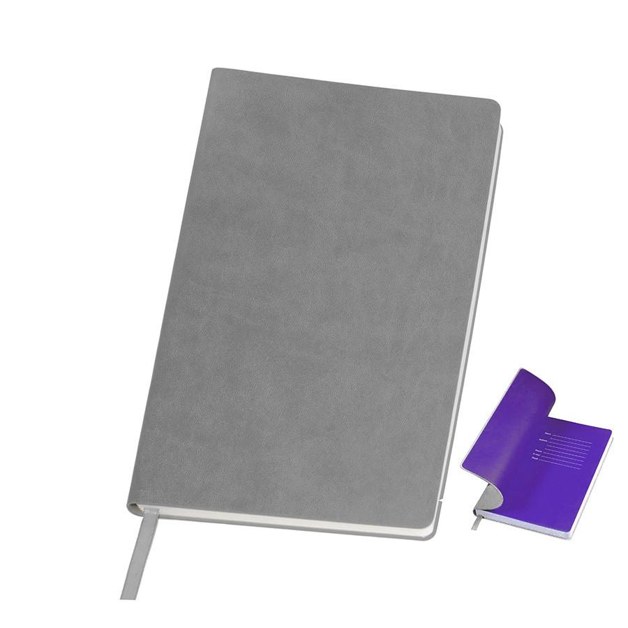 """Бизнес-блокнот """"Funky"""", 130*210 мм,  серый/фиолетовый форзац, мягкая обложка, блок-линейка"""