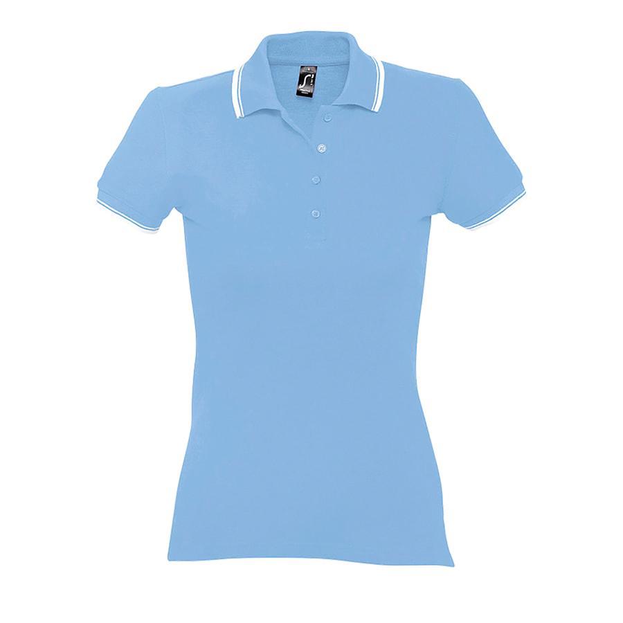 """Поло """"Practice Women"""" голубой с белым_S, 100% х/б, 270г/м2"""