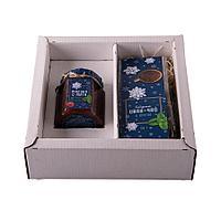 """Набор """"Малина-мята"""", варенье малиновое и иван-чай с мятой в подарочной упаковке,21,5*21,5*6,5 см"""