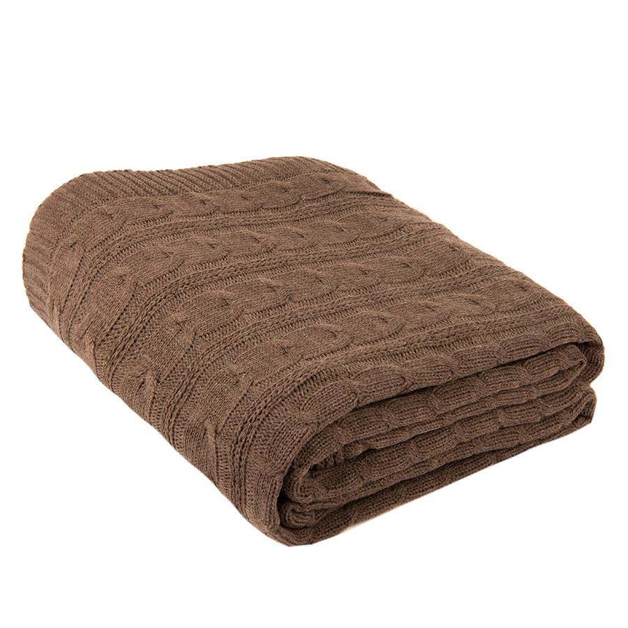 Плед VELVILJE MAXI, коричневый, шерсть 30%, акрил 70%, 180*200 см