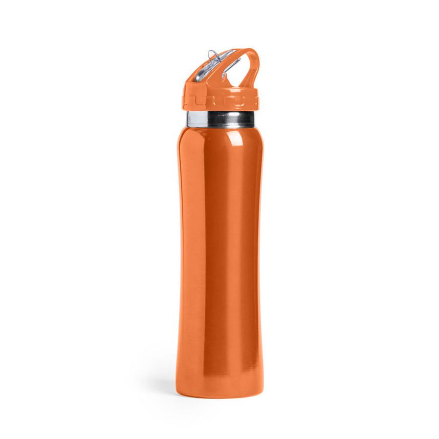 Бутылка для воды SMALY с трубочкой, оранжевый, 800 мл, нержавеющая сталь