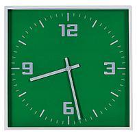 """Часы настенные """"КВАДРАТ""""; зеленый, 30*30 см; пластик; без элементов питания"""