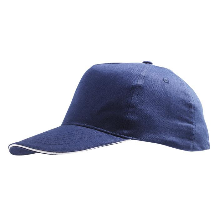 """Бейсболка """"SUNNY"""", 5 клиньев, застежка на липучке,темно-синий с белым,100% хлопок,плотность 180 г/м2"""