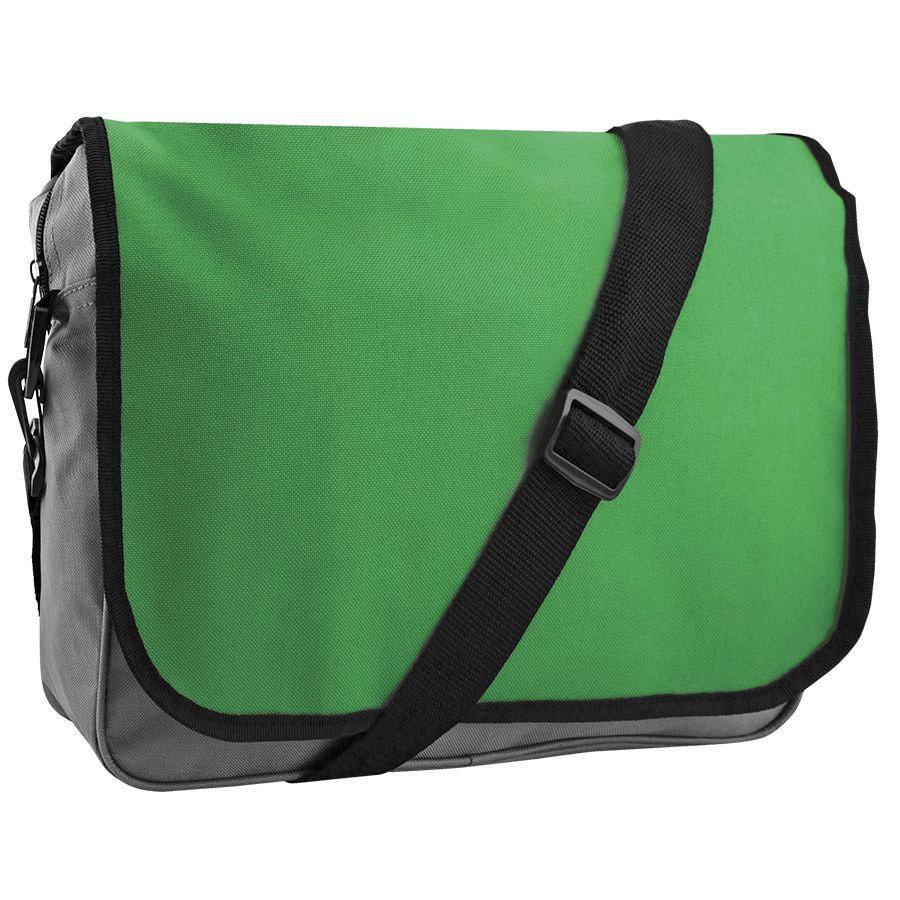 "Конференц-сумка ""College""; серый с зеленым; 38х30х9,5 см; полиэстер"