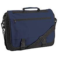 """Конференц-сумка """"Expo""""; черный с синим; 39х29х9 см; полиэстер"""