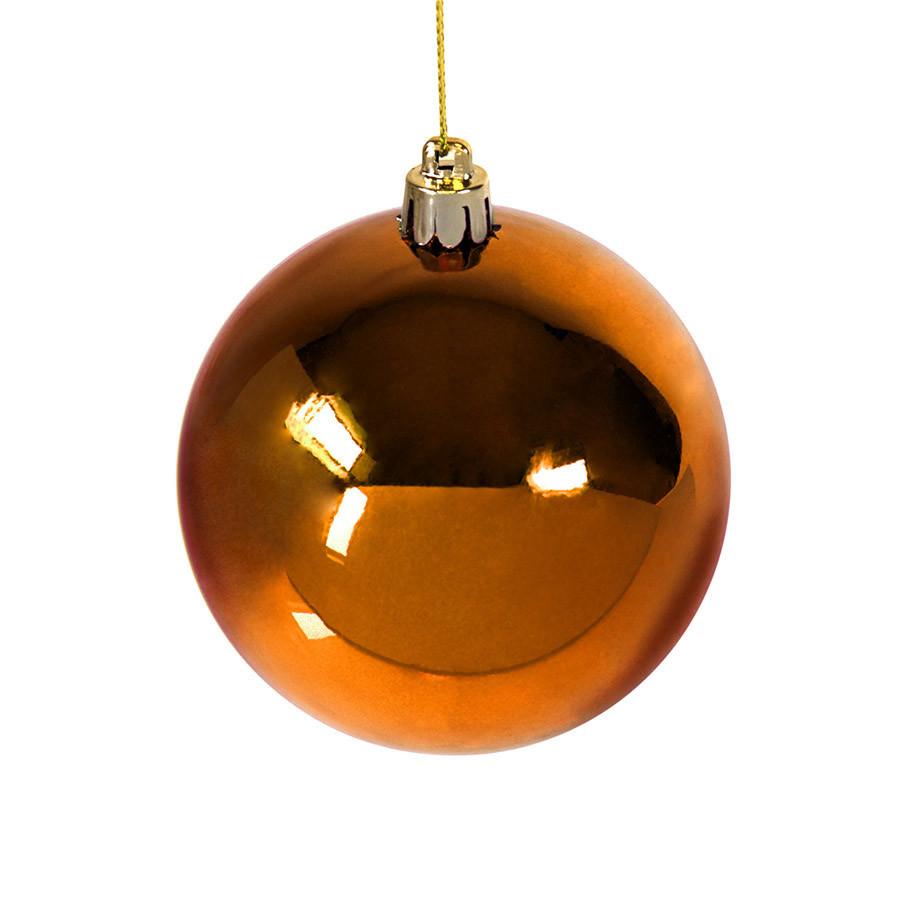 Шар новогодний Gloss, диаметр 8 см., пластик, оранжевый