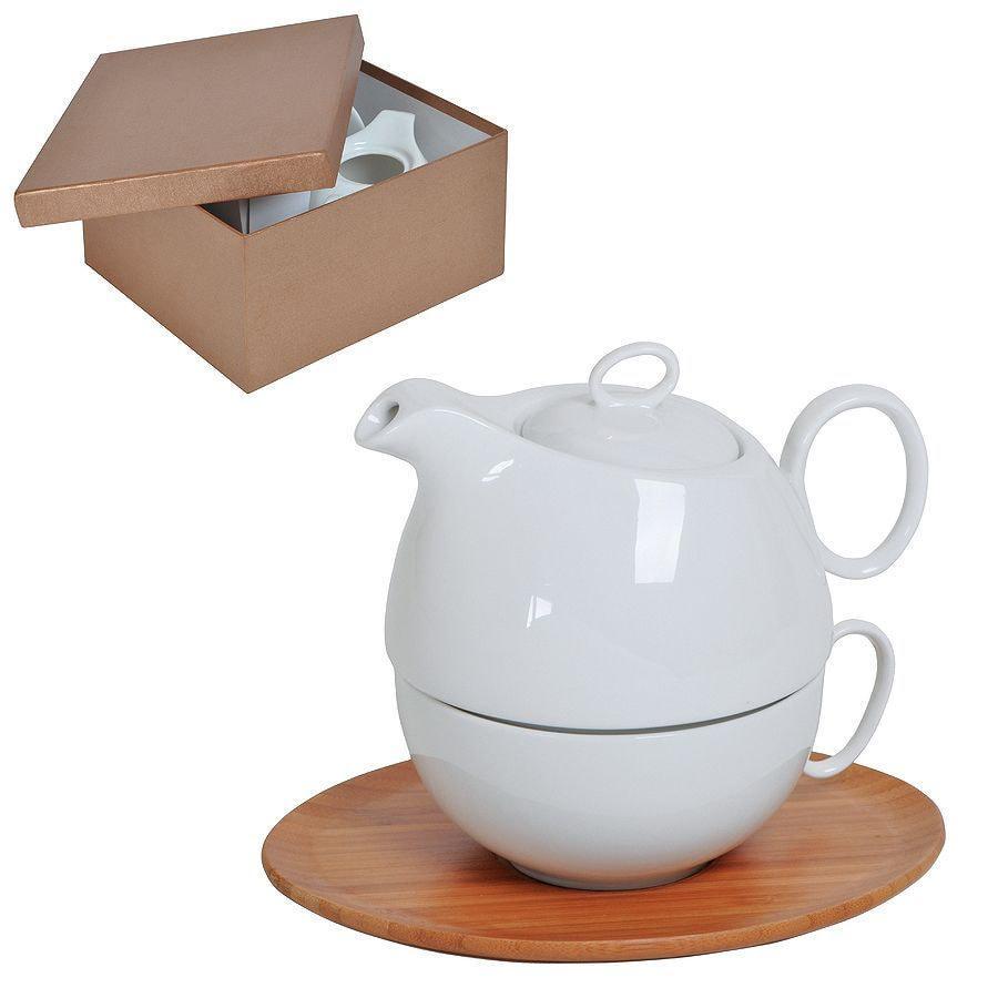 """Набор """"Мила"""": чайник и чайная пара в подарочной упаковке, 21,5х24х12см,500мл и 300мл, фарфор, бамбук"""