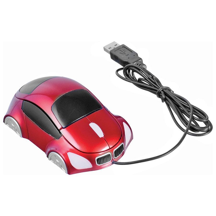 """Мышь компьютерная оптическая """"Автомобиль""""; красный; 10,4х6,4х3,7см; пластик"""