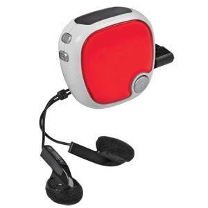 FM-радио c шагомером и наушниками; красный с белым; 4,9х4,9х2,8 см; пластик