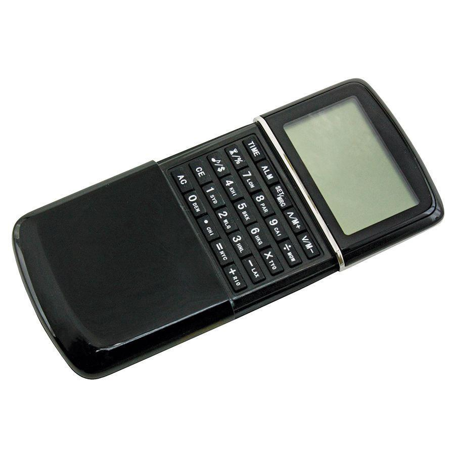 Калькулятор с календарем; черный; 6,2х10х1,5 см; пластик